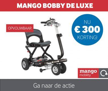 Nu € 300,- korting op de Bobby de Luxe scootmobiel van Mango Mobility